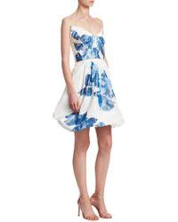 Monique Lhuillier - Floral-print Drape Bodice Silk Cocktail Dress - Lyst