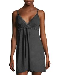 Hanky Panky - Floral-trimmed Heathered Chemise - Lyst