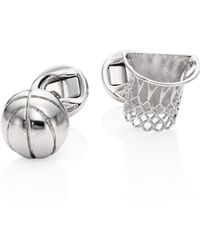 Saks Fifth Avenue - Rhodium-plated Basket Ball Cuff Links - Lyst