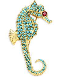 Kenneth Jay Lane - Embellished Seahorse Pin - Lyst