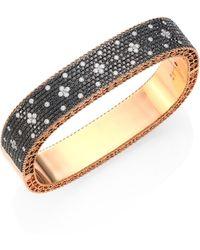 Roberto Coin - Princess Diamond & 18k Rose Gold Bangle - Lyst