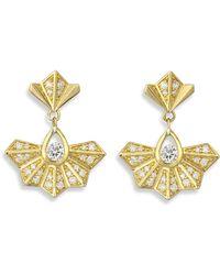 Ron Hami - Diamond Fan Drop Earrings - Lyst