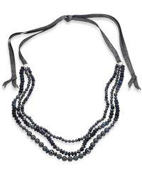 Chan Luu | 6mm Grey Potato Pearl, 9-10mm Cultured Freshwater Pearl, Pyrite & Mystic Lab Tie Necklace | Lyst