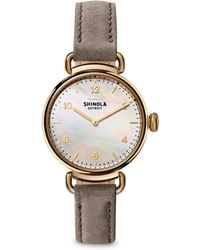 Shinola - Canfield Mother-of-pearl, Goldtone Stainless Steel & Leather Strap Watch - Lyst