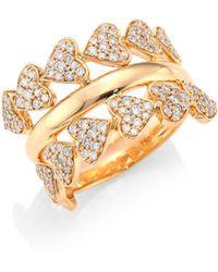 Hueb - Hearts Diamond & 18k Rose Gold Ring - Lyst