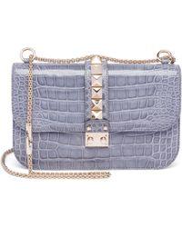 Valentino - Rocklock Medium Crocodile Shoulder Bag - Lyst