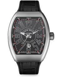 Franck Muller - Vanguard Stainless Steel & Croc-embossed Leather Strap Watch - Lyst