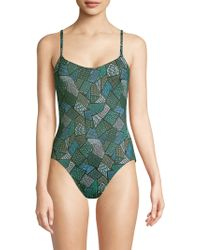 Thorsun - Billy Tile-print One-piece Swimsuit - Lyst