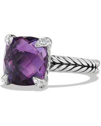 David Yurman Châtelaine Ring With Lemon Citrine And Diamonds - Purple