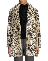 FRAME - Notched Collar Leopard Faux Fur Coat - Lyst