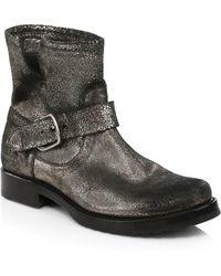 Frye - Veronica Metallic Leather Booties - Lyst