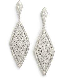 Adriana Orsini - Crystal Encrusted Diamond Drop Earrings - Lyst