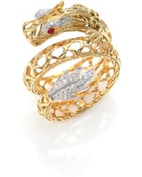 John Hardy | Legends Naga 18k Gold, African Ruby & Pave Diamond Dragon Coil Ring | Lyst