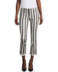 RTA - Kiki Striped Flare Leather Cropped Pants - Lyst