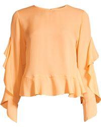 Robert Rodriguez Basia Ruffle Silk Top - Orange