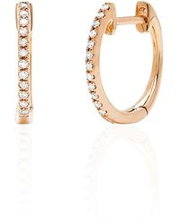 EF Collection - Diamond & 14k Rose Gold Huggie Hoop Earrings - Lyst