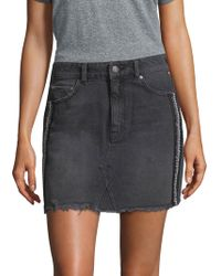 Free People - Side-embellished Denim Mini Skirt - Lyst