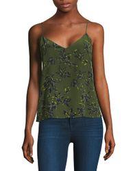 L'Agence - Jane Leaf Silk Tank Top - Lyst