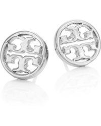 Tory Burch - Logo Circle Stud Earrings/silvertone - Lyst