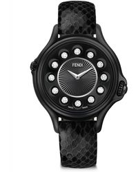 Fendi - Crazy Carats Diamond, Multicolour Topaz, Black Stainless Steel & Python Strap Watch - Lyst