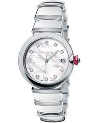 BVLGARI | Lvcea Diamond, Mother-of-pearl & Stainless Steel Bracelet Watch | Lyst