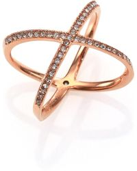 Michael Kors - Brilliance Statement Pave X Ring/rose Goldtone - Lyst