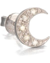 Sydney Evan - Diamond & 14k White Gold Crescent Moon Single Stud Earring - Lyst