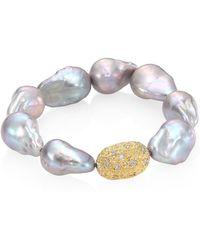 Jordan Alexander - 15mm Baroque Freshwater Pearl, Diamond & 18k Yellow Gold Beaded Stretch Bracelet - Lyst