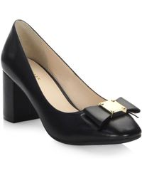 Cole Haan - Tali Bow Leather Court Shoes - Lyst