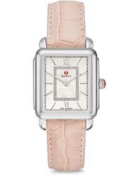 Michele Watches - Slim Deco Ii Mid Stainless Steel Alligator Strap Watch - Lyst