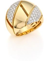 Roberto Coin | Gourmette Pave Diamond & 18k Yellow Gold Ring | Lyst