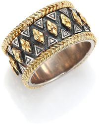 Konstantino - Hebe Engraved 18k Yellow Gold & Sterling Silver Ring - Lyst