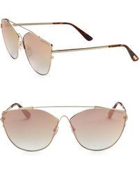 0ca1e97ebe Tom Ford - Women s Jacquelyn 64mm Cat Eye Sunglasses - Gold Brown - Lyst