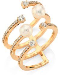 Hueb - Rainbow White Freshwater Pearl, Diamond & 18k Yellow Gold Ring - Lyst
