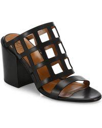 Aquatalia - Federica Laser-cut Leather Block Heel Mules - Lyst