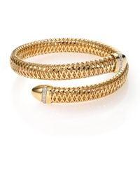 Roberto Coin - 18k Yellow And White Gold Primavera Flex Cuff Bracelet With Diamonds - Lyst