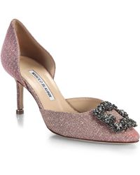 Manolo Blahnik - Jewelled Metallic D'orsay 70 Court Shoes - Lyst