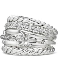 David Yurman - Wellesley Sterling Silver And Diamonds Link Four-row Ring - Lyst