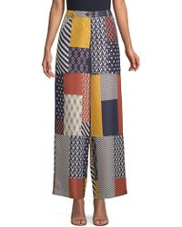 Tory Burch - Denise Silk Patchwork Wide-leg Trousers - Lyst