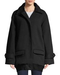 ATM - Chunky Faux Shearling Collar Knit Coat - Lyst