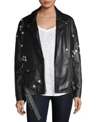 Sandy Liang - Floral Leather Jacket - Lyst