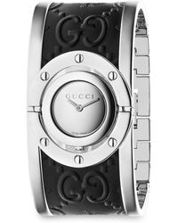 Gucci | Twirl Stainless Steel Ssima And Bee Leather Bangle Analog Watch 112 J | Lyst