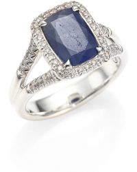 John Hardy | Classic Chain Diamond, Blue Sapphire & Sterling Silver Ring | Lyst