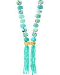 Nest - 22k Yellow Goldplated, Chrysotine & Amazonite Tassel Necklace - Light Green - Lyst