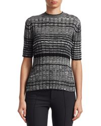 Helmut Lang - Striped Wool Short-sleeve Crewneck Sweater - Lyst