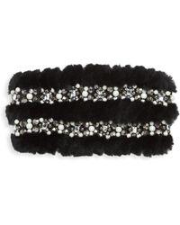 Glamourpuss - Embellished Rabbit Fur Headband - Lyst