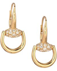 Gucci - Horsebit Diamond & 18k Yellow Gold Drop Earrings - Lyst