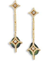 Jordan Alexander - Diamond, 10mm Tahitian Pearl & 18k Yellow Gold Caged Drop Earrings - Lyst