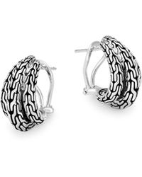 John Hardy - Classic Chain Huggie Hoop Earrings - Lyst