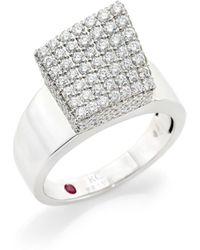 Roberto Coin - Sauvage Prive 18k White Gold Diamond Cube Ring - Lyst